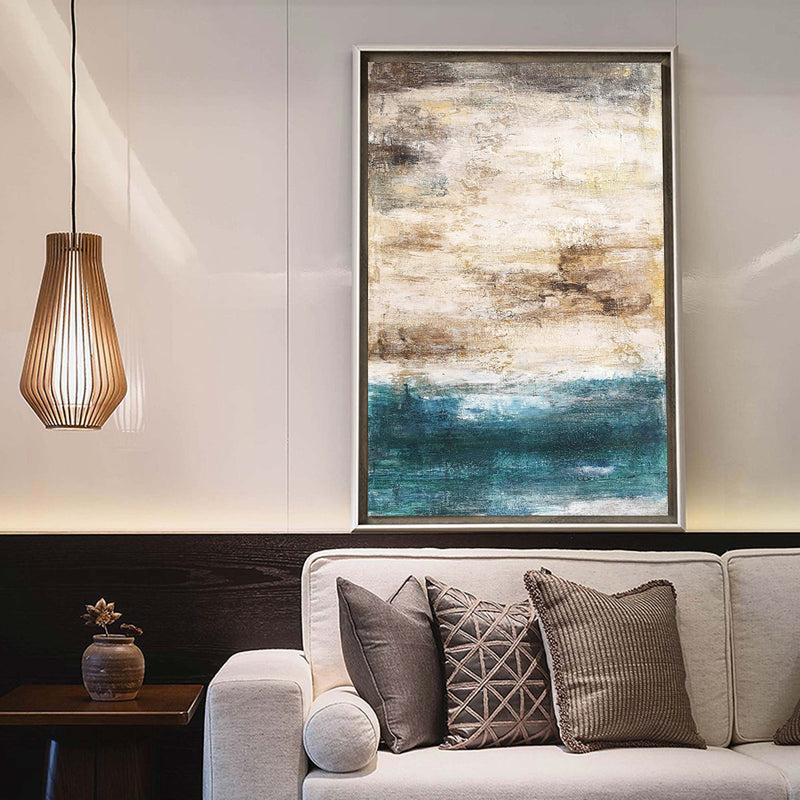 Abstract Beach Painting On Canvas Acrylic Seascape Paintings Large Vertica Wall Art