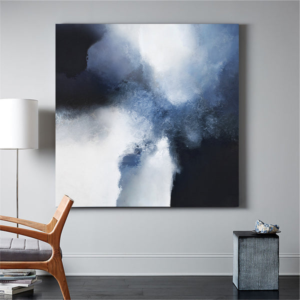 Large Blue Abstract Art Blue And Black Abstract Painting Extra Large Art