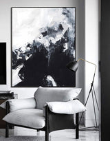 Black And White Abstract Painting Large Acrylic Wall Art Textured Abstract Art