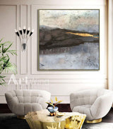 Coastal Wall Art Abstract Beach Art Abstract Seascape Paintings Gold Blown Art