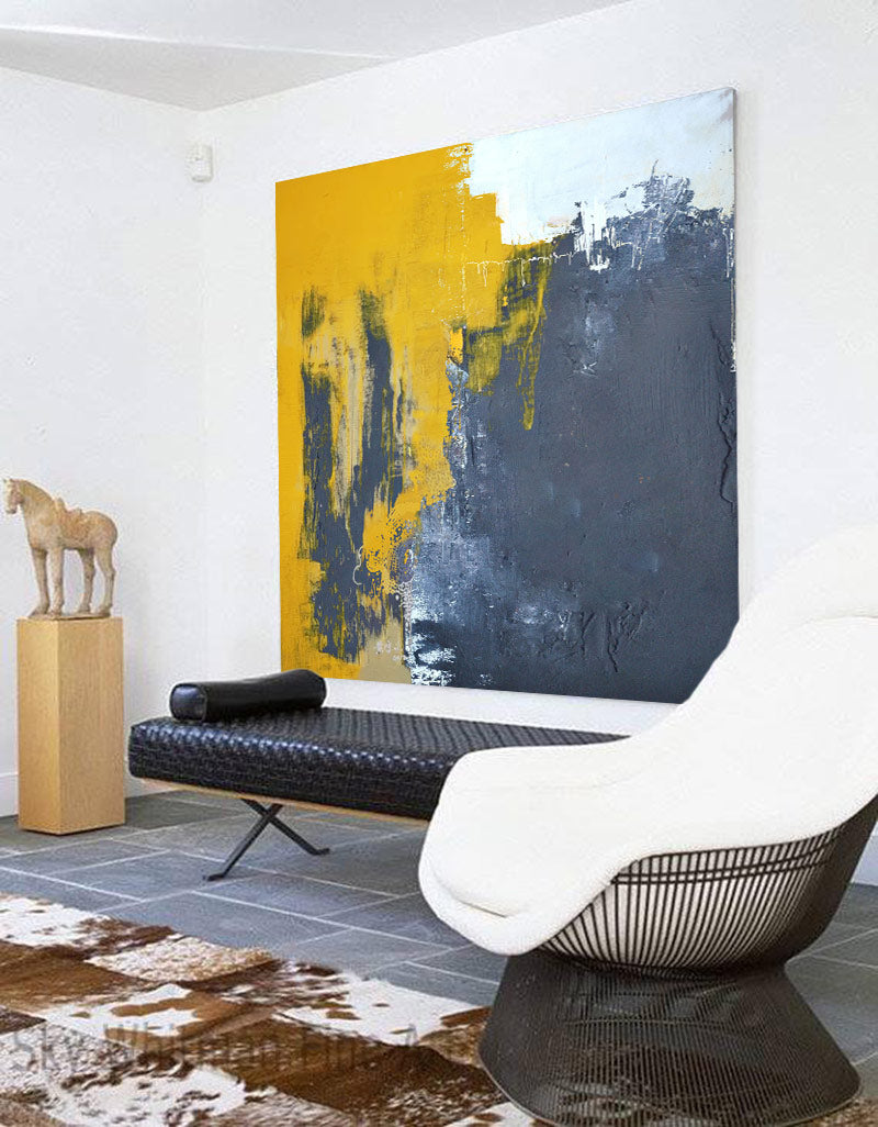 Yellow And Gray Wall Art Grey and Orange Modern Abstract Canvas Art