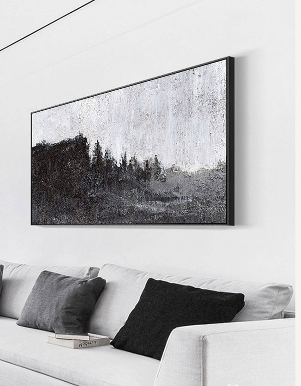 Large Black White Abstract Painting Modern Black Canvas Art Huge Wall Art For Living Room