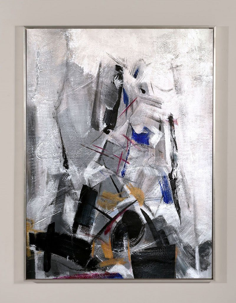 Contemporary Abstract Art Large Vertical Black And White Abstract Painting