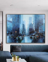 Abstract City Canvas Art Architecture Painting Modern Cityscape Art
