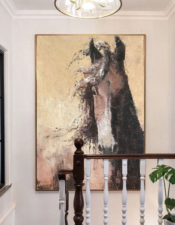 Textured Brown Horse Painting Large Horse Art Abstract Horse Painting Oversized horse Wall Art