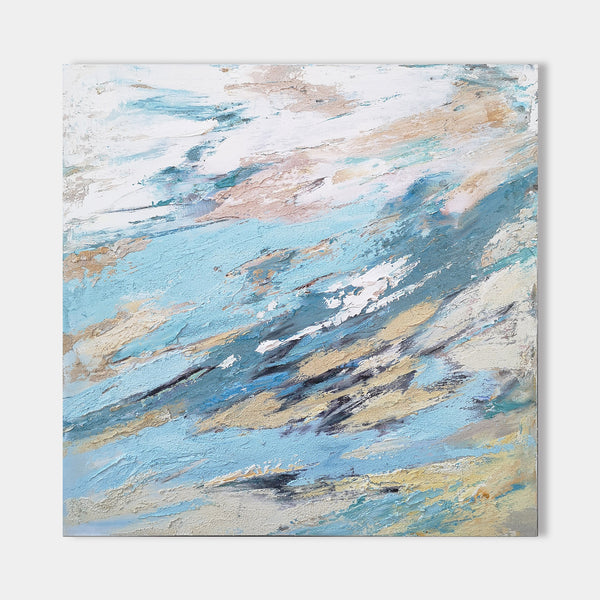 40 x 40 Canvas Art Textured Abstract Art Abstract Beach Painting For Sale