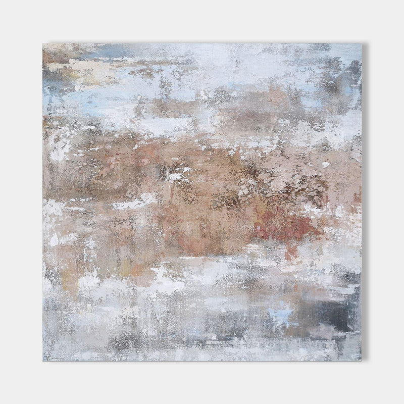 Square Grey And Rust Abstract Canvas Art Contemporary Textured Painting