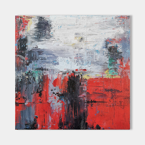 40 x 40 Squrae Red Abstract Art Contemporary Abstract Art For Sale