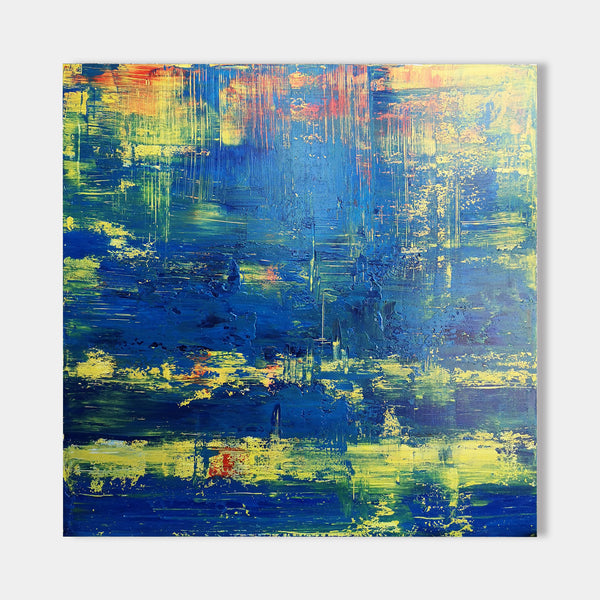 40 x 40 Blue And Yellow Abstract Wall Art Square Modern Abstract Painting