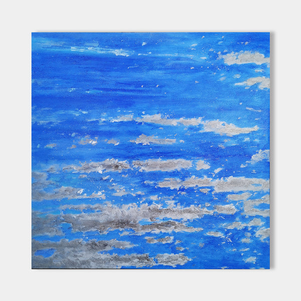 Square Abstract Ocean Painting Blue And Grey Wall Art Seascape Art