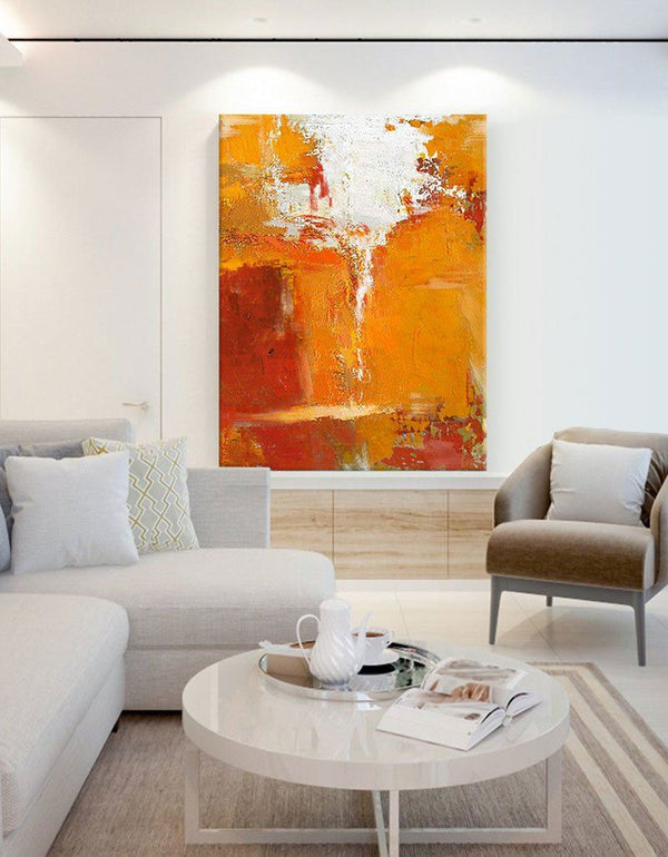 Orange Wall Art Canvas Bright Acrylic Paintings Artwork For Large Walls
