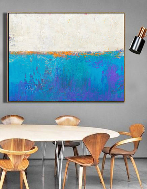 abstract ocean painting ocean acrylic painting Light Blue Wall Decor