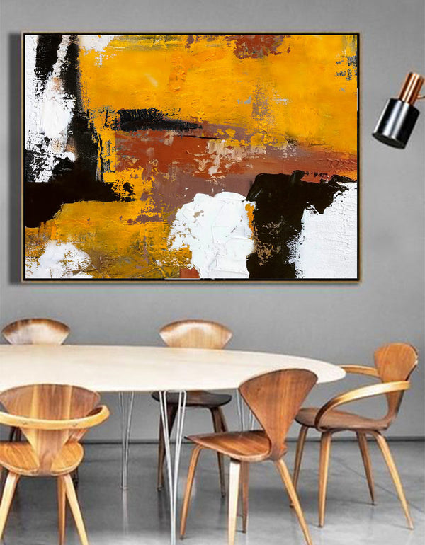 Original Textured Abstract Modern Painting On Canvas Orange White Black