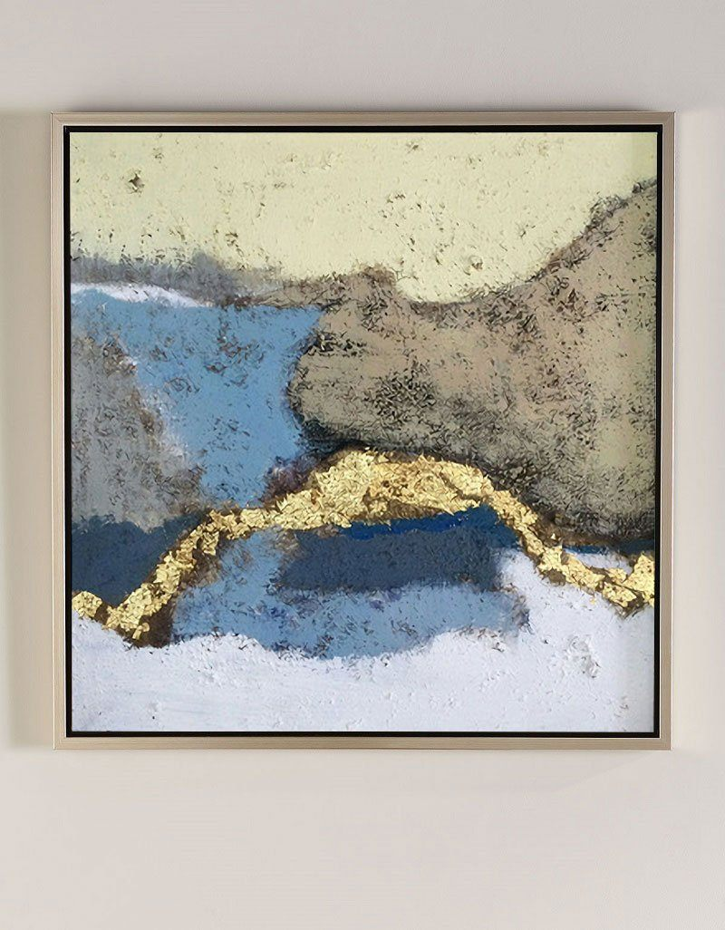 Abstract Landscape Art White Gold Wall Decor For Living Room