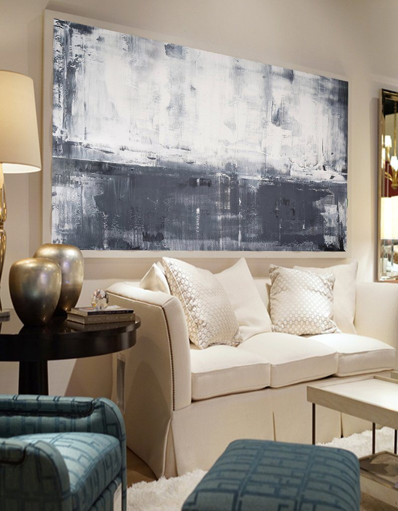 Grey White Abstract Art Extra Large Gray Abstract Painting For Livingroom