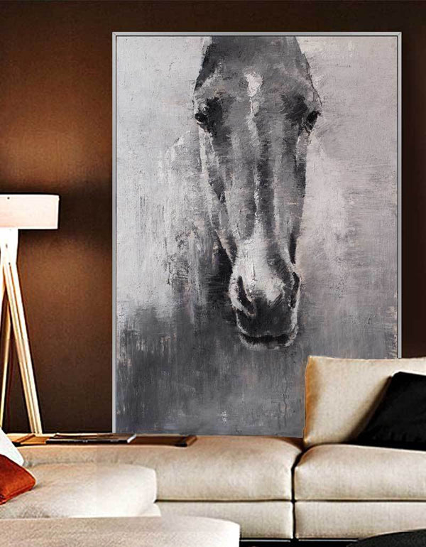 Grey White Abstract Horse Painting Horse Wall Art Horse Artwork