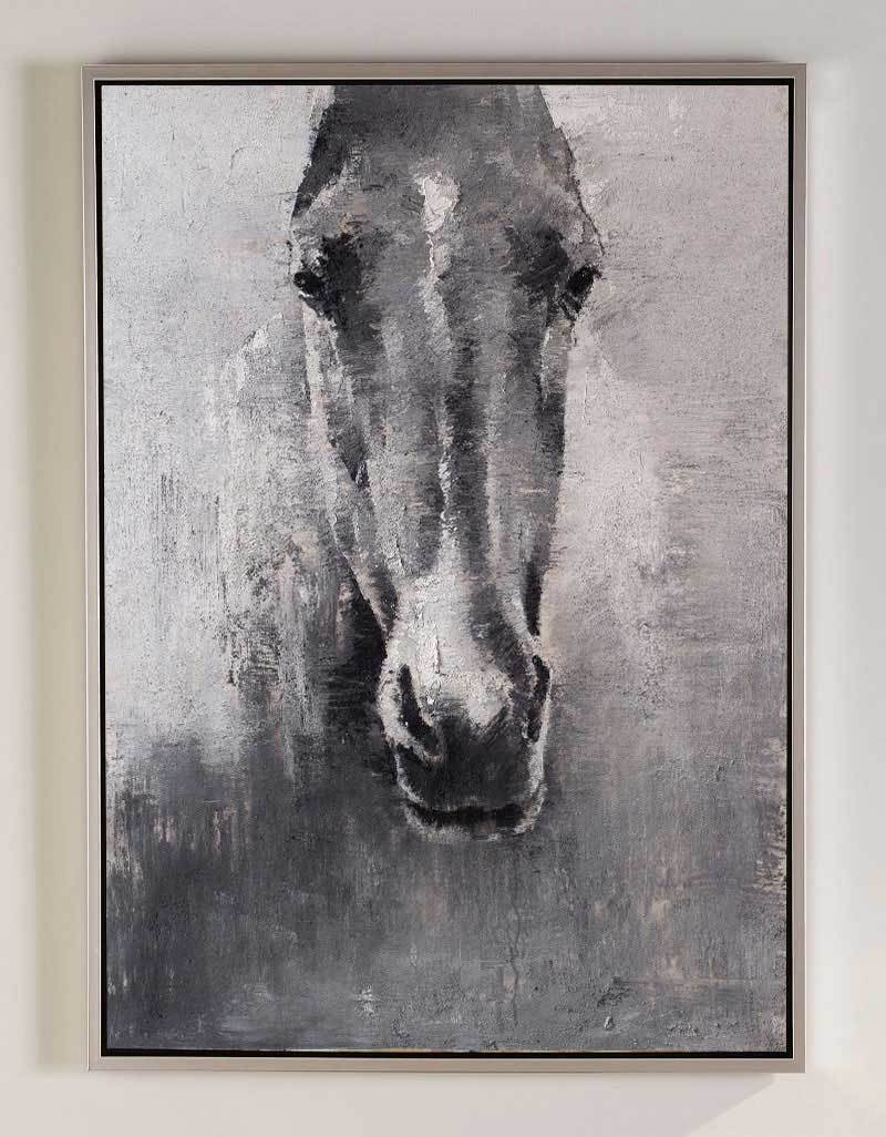 Horse Artwork Grey White Abstract Horse Painting Horse Wall Art Artexplore