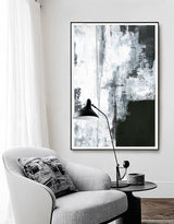 Large Vertical Textured Black White Cyan Abstract Painting On Canvas