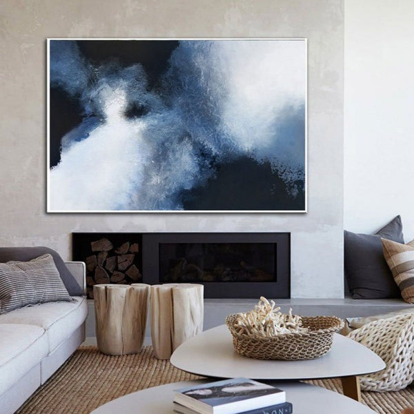 Blue Abstract Canvas Wall Art Big Living Room Wall Decor Canvas Painting