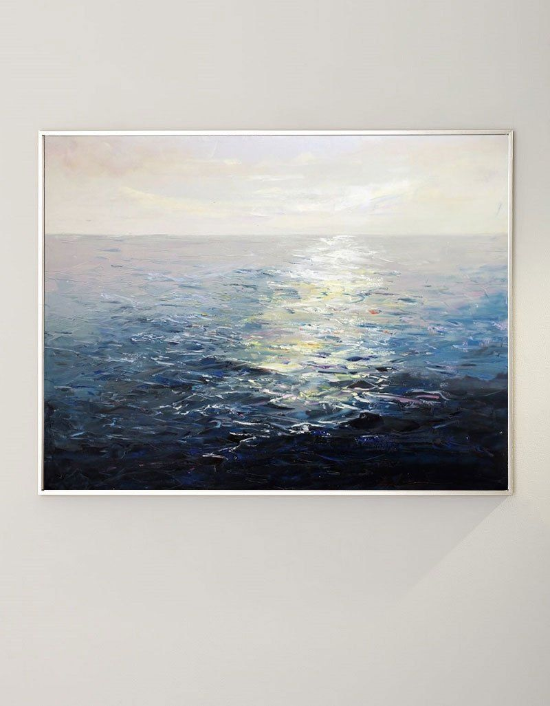 Ocean Sunset Painting Large Blue Ocean Canvas Wall Art Ocean Wave Canvas Art
