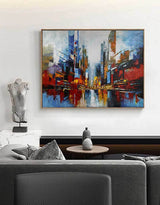 Urban Painting Large Abstract Cityscape Art City Big Abstract Painting