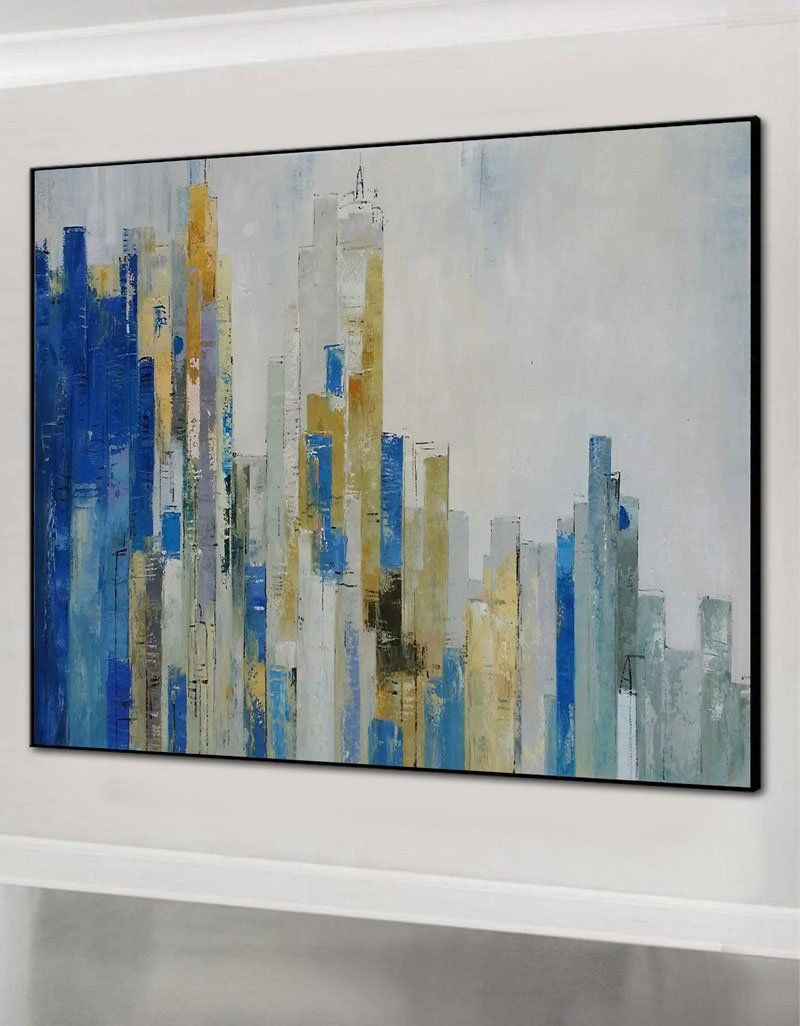 Skyline Abstract Painting With Acrylic Chicago Cityscape Canvas Art Large city painting