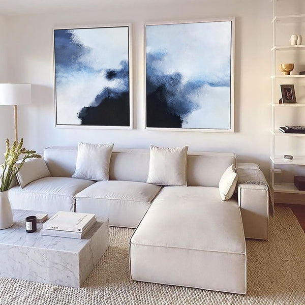2 Piece Blue White Black Modern Abstract Wall Art For Living Room