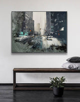 Winter City Scenes Paintings Contemporary Urban Art City Canvas Wall Art
