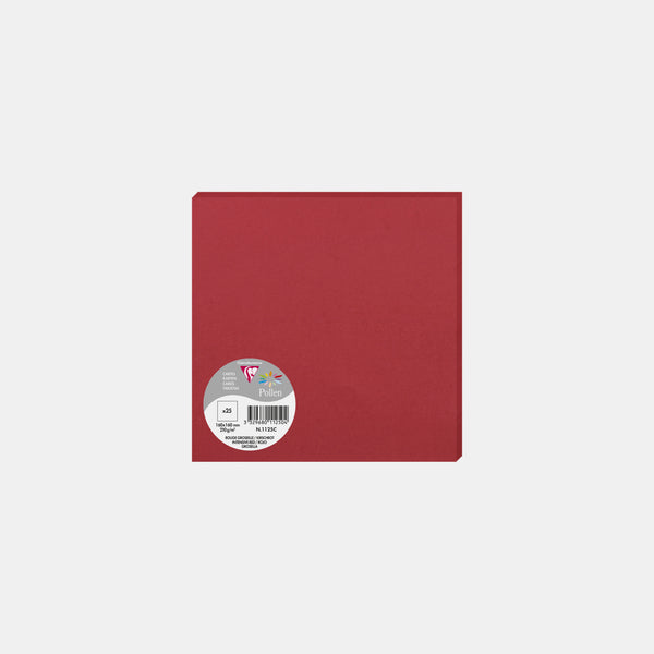 Carte 160x160 velin 210g rouge groseille Pollen
