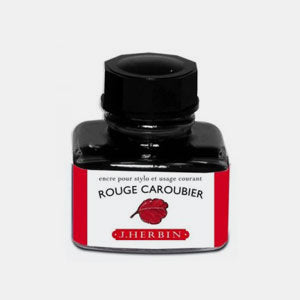 Bouteille 30 ml encre pour stylo rouge caroubier
