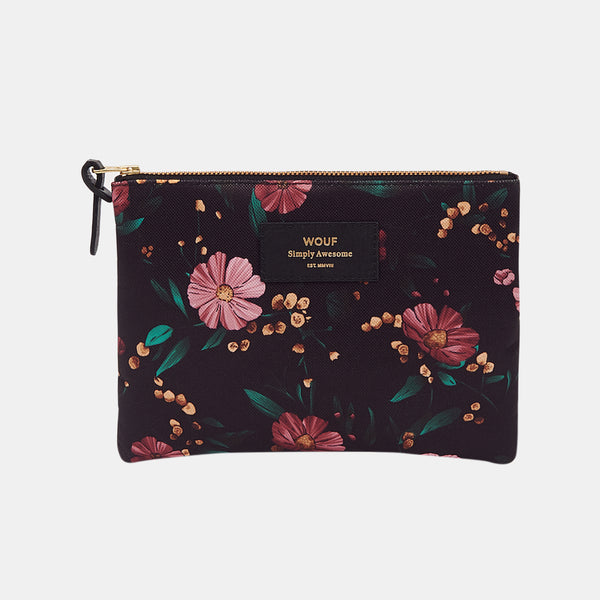 Trousse large pouch Black flowers