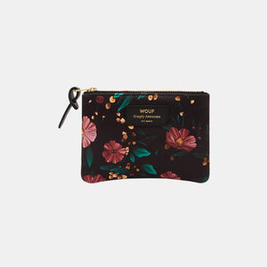 Trousse small pouch Black Flowers