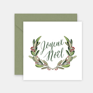 Carte courrone de Noel aquarelle