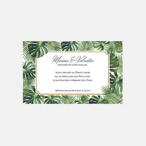 Carton invitation de mariage Jungle Tropical