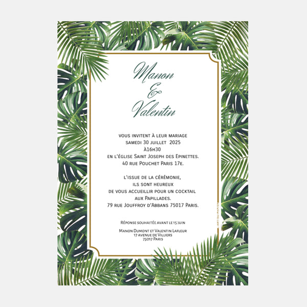 Faire-part de mariage Jungle Tropical