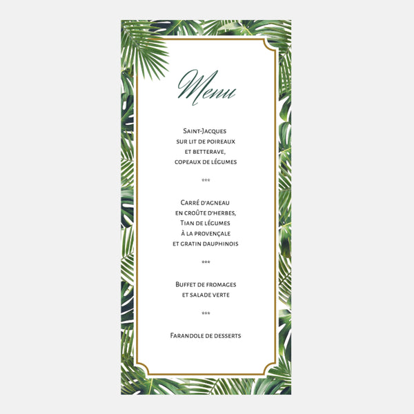 Menu Mariage Jungle Tropical