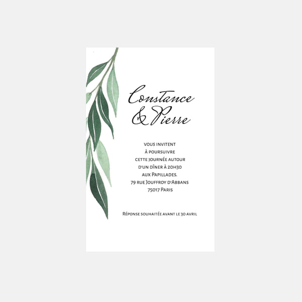 Carton invitation de mariage Transparence Feuillages