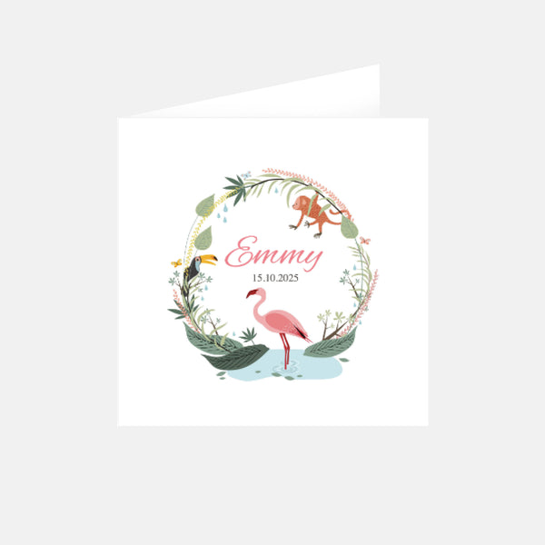 Faire-part de naissance Jungle Flamant Rose