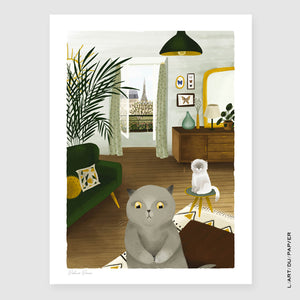 Affiche illustration Appartement de Mr Chat - Rebbeca Romeo