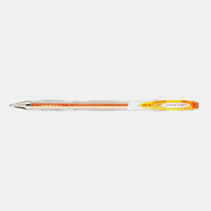 Stylo encre gel metal paillette pointe fine orange uniball