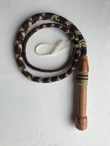 4 Ft. Black, Brown and Tan Nylon Cow Whip