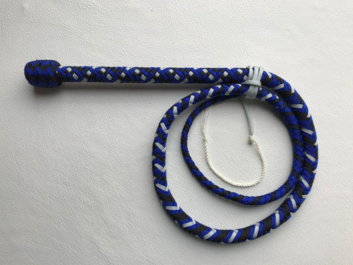 4 Ft. Silver, Black and Blue Target Bullwhip