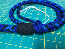Load image into Gallery viewer, 4 Ft Black and Blue Nylon Bullwhip