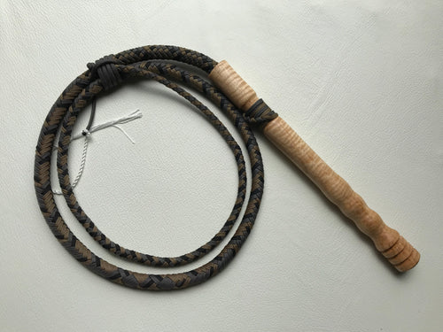 6 Foot Black, Tan and Grey Cow Whip