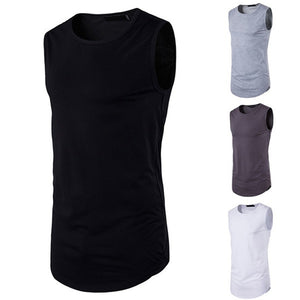 Men Hip-hop T-shirt Solid Color Sleeveless Tank Top