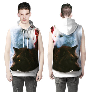 Women Men Unisex Sleeveless Wolf 3D Print Loose Hoodies Blouse Tops Tank