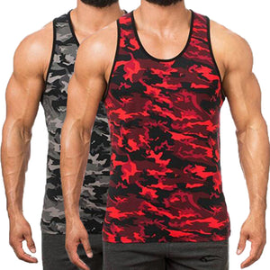 Hiphop Camouflage Sleeveless Muscle Tee Men's Tank Tops Crew Neck Slim Fit Vest Tanks Bodybuilding Tracksuits Joggers Summer