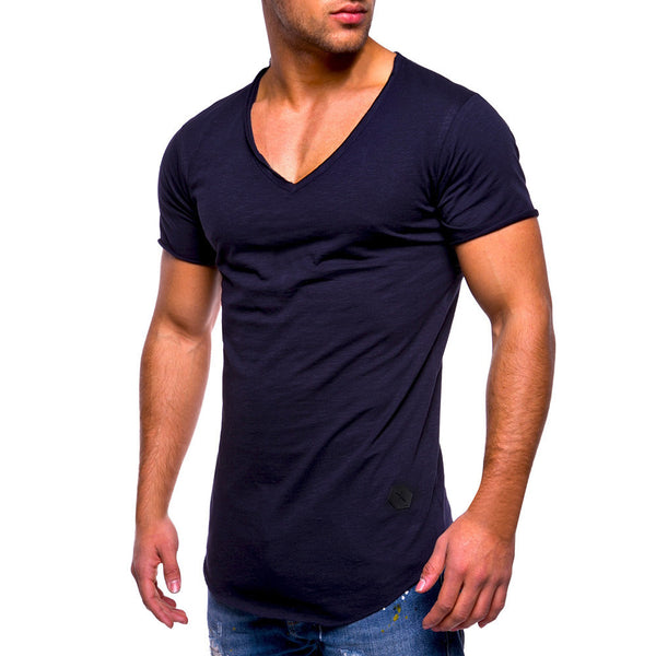 Men Tee Slim Fit V Neck Short Sleeve Muscle Cotton Casual Tops Blouse Shirts