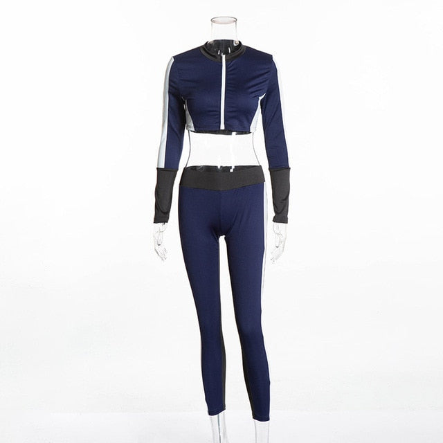 Women Workout Outfits Crop Top and Pant Autumn Winter 2018 Long Sleeve Blue White Striped Gym Running Sport Yoga Two Piece Set