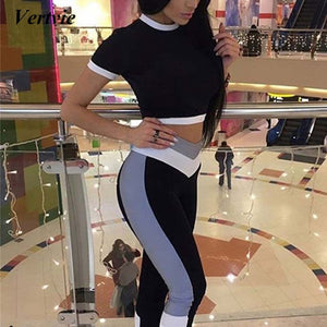 Vertvie Patchwork Women Sport Set Sexy Fitness Short Sleeve Crop Top +Pants Track Suit Sportswear Sexy 2 Piece Womens Yoga Set